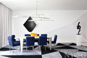 contemporary dining room using color block furniture and artwork