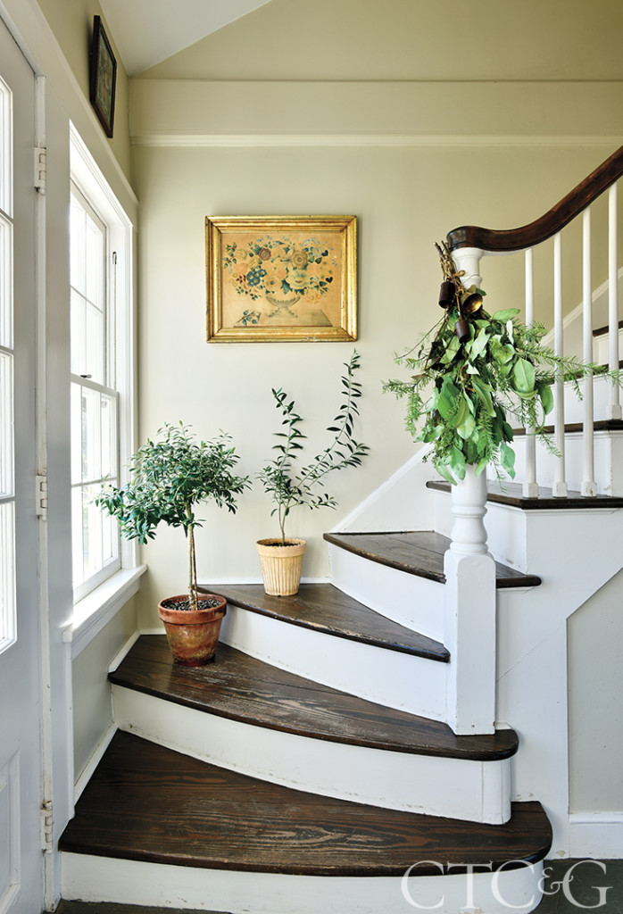 stairway with plants in antique house