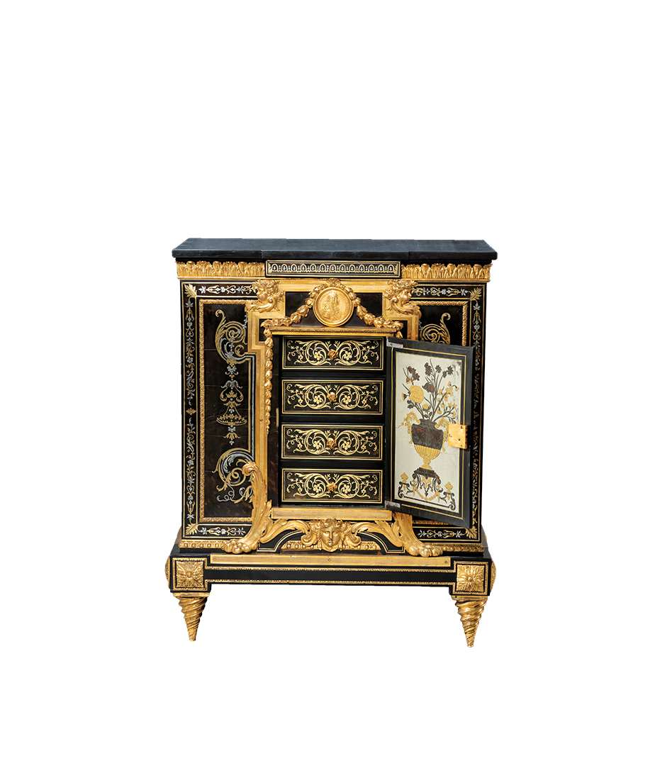 black and gold vintage Parisian cabinet