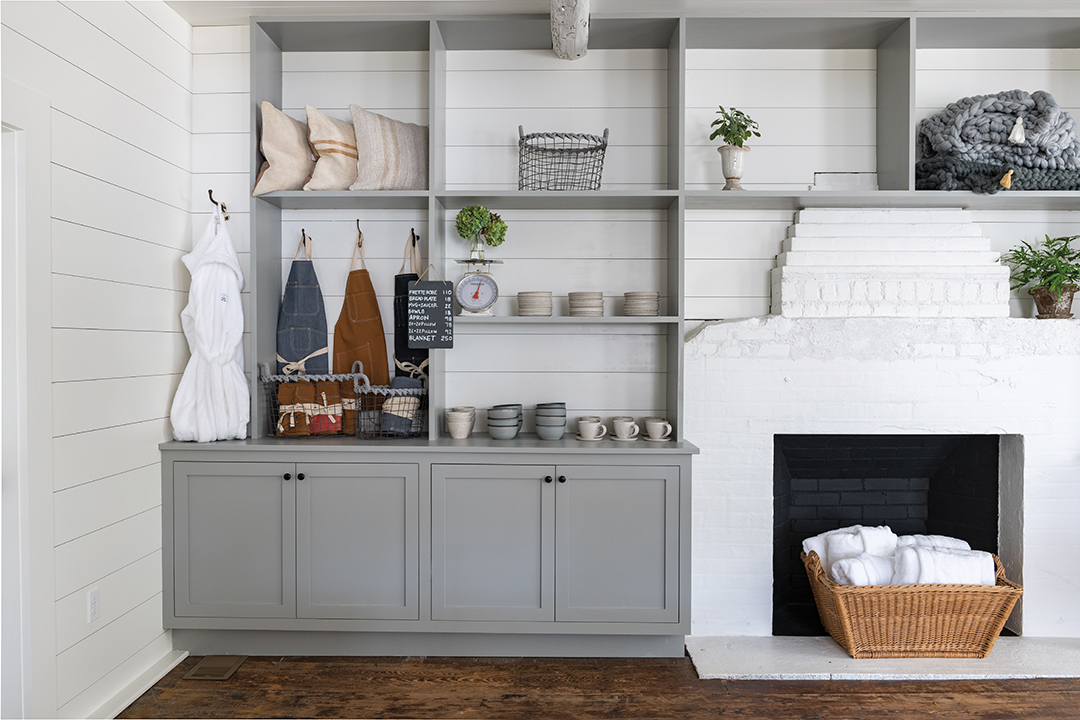 Storage and fireplace
