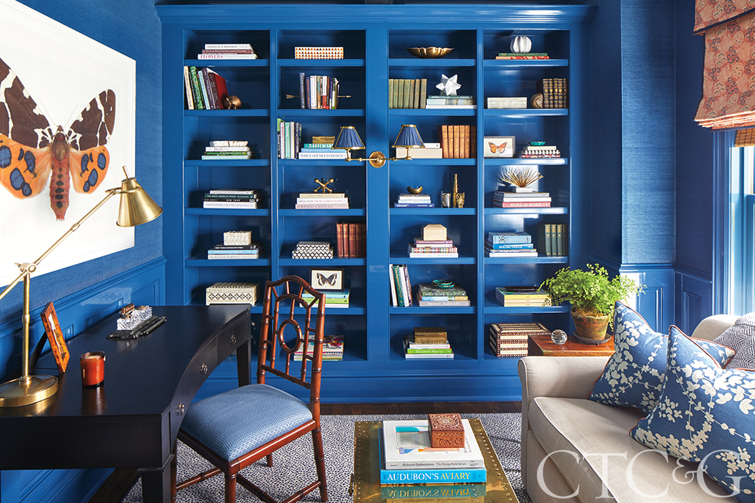 bright blue office and library