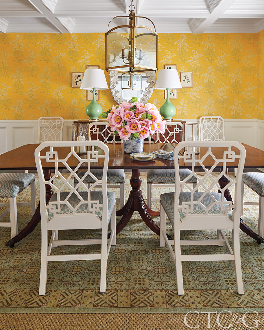 country dining room with yellow wallpaper