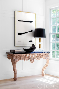side table with modern and abstract details