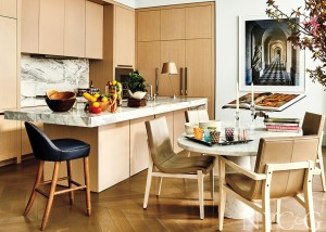 modern wood paneled kitchen and breakfast nook