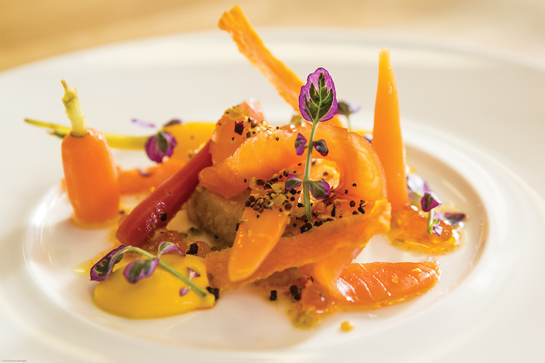 Heirloomcarrots, Maplesmokedsalmon, Smokedroe, Carrotvinaigrette