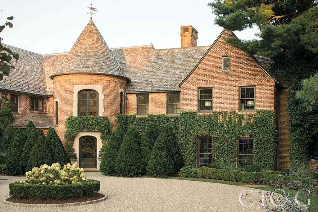 Greenwich Tudor Brick Home Front Entrance