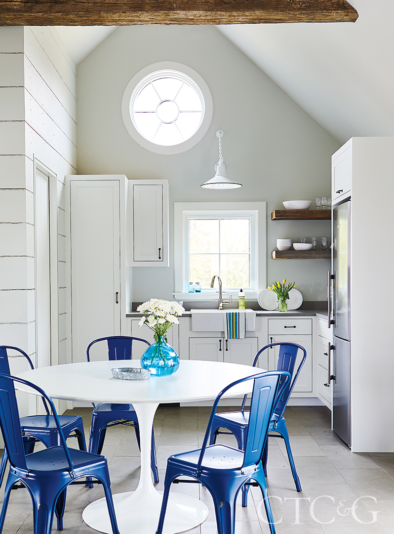 Kent Pool House With White Kitchen And Blue Chairs