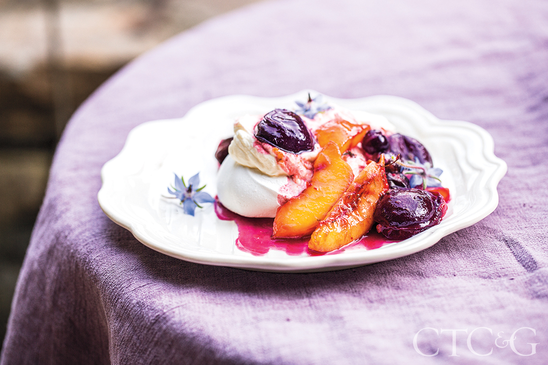 Dirt Road Farm Barn Supper Plated Dessert with Purple Table Cloth
