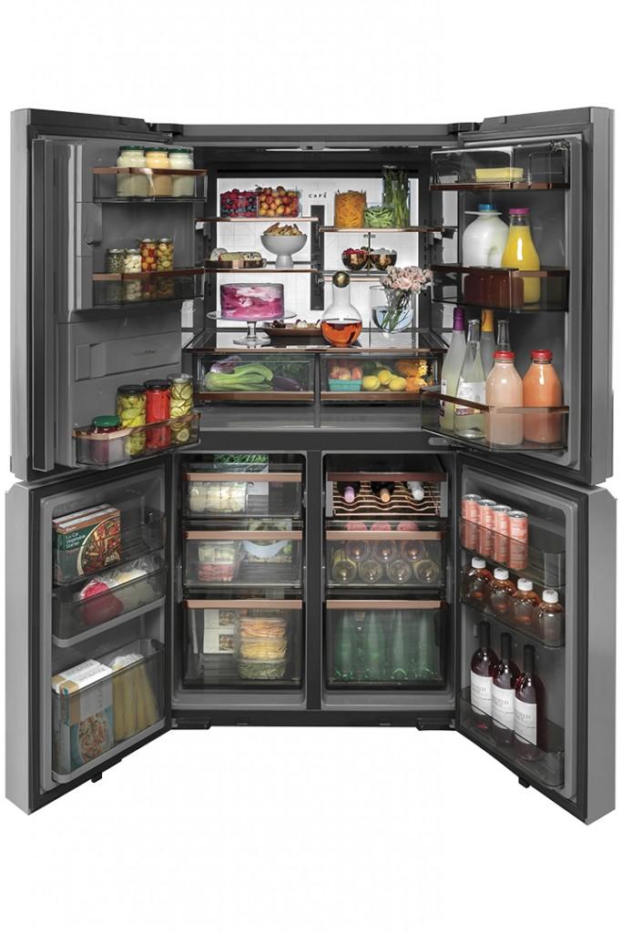 Cafe Modern Glass Quad Door Refrigerator