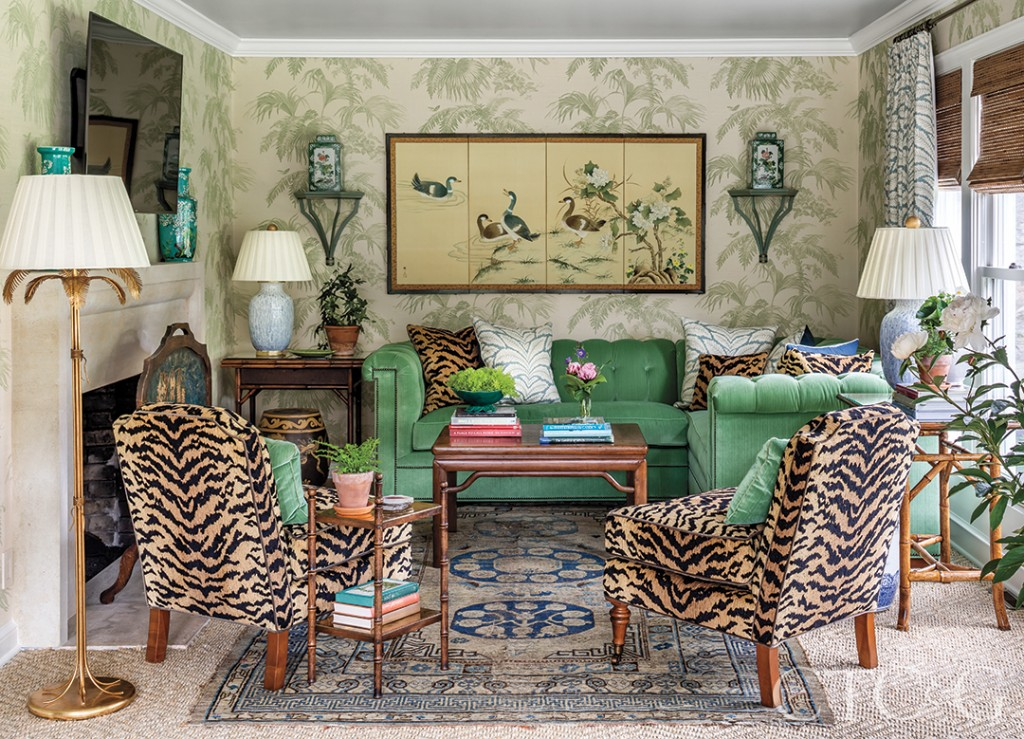 Animal print fabric in the sunroom