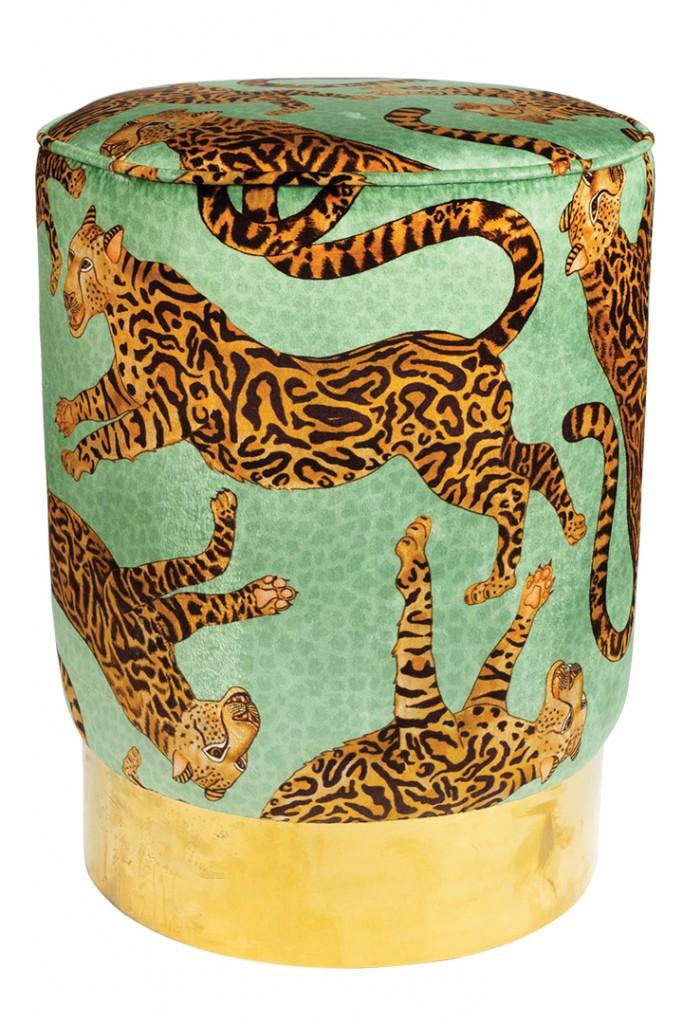 Velvet Cheetah Print Ottoman