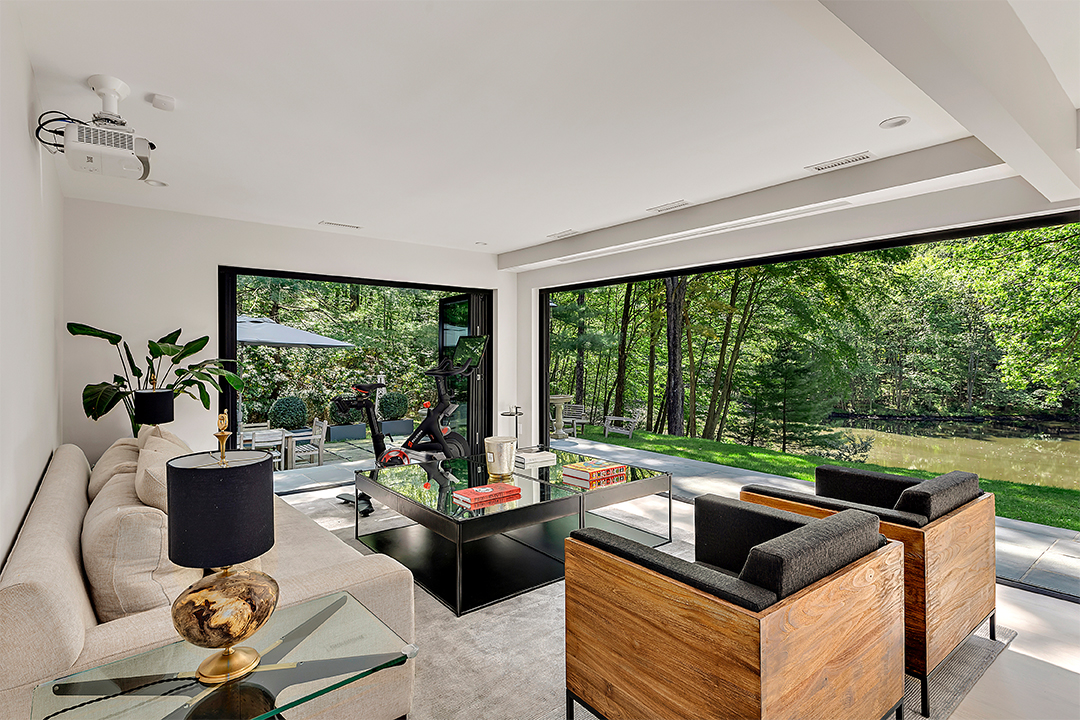 Modern home with glass walls