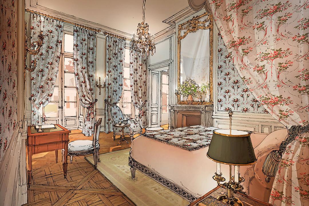 Bedroom in the Airelles Château de Versailles, Le Grand Contrôle