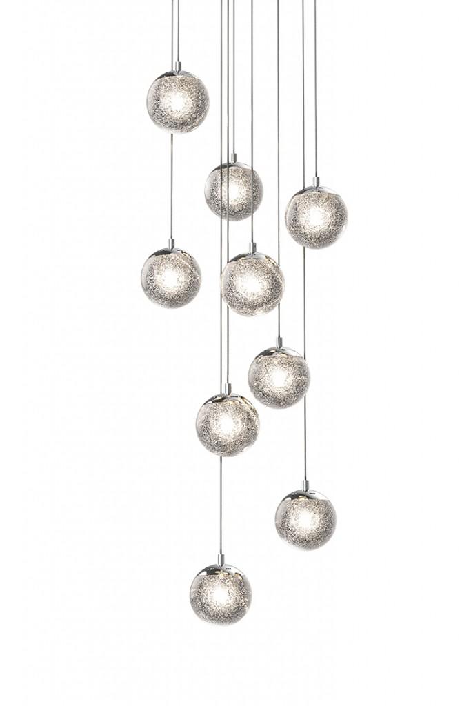 Sonnemans Champagne Bubbles Nine Light Round Led Pendant