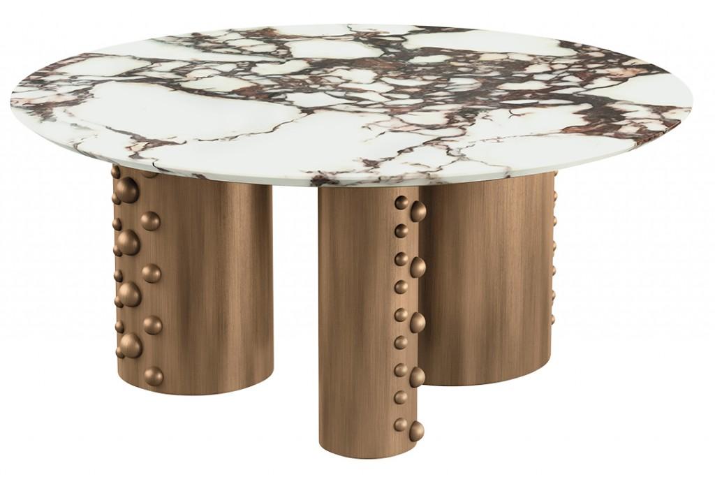Brass Column Coffee Table
