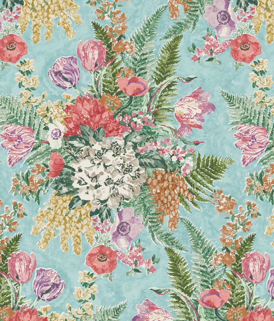 Multi Colored Floral Print Fabric Design