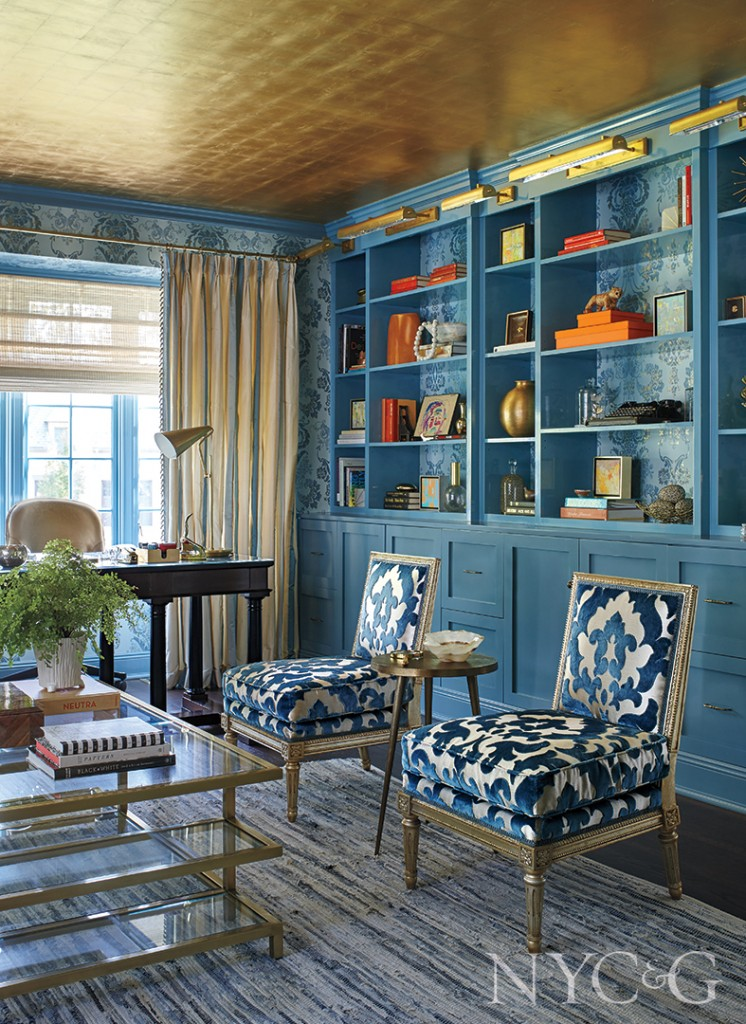 Blue Built In Cabinets In Home Office
