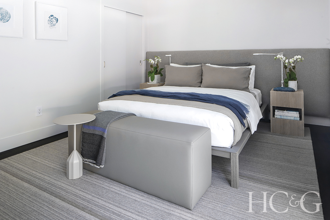 guest bedroom side table and bed; custom gray bench and nightstands
