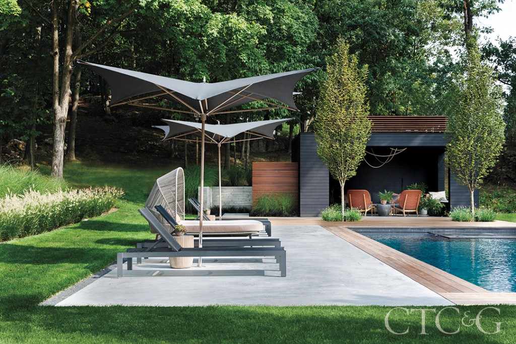 Modern Lounge Chairs And Umbrella And Pool