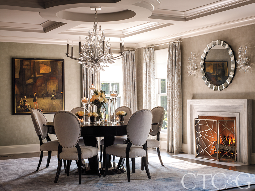Traditional Dining Room Chandelier Chairs Dining Table Flower Arrangement Fireplace Wallpaper