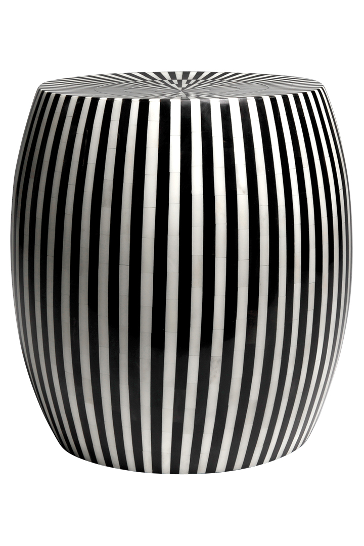 Made Goods Black And White Striped Stool