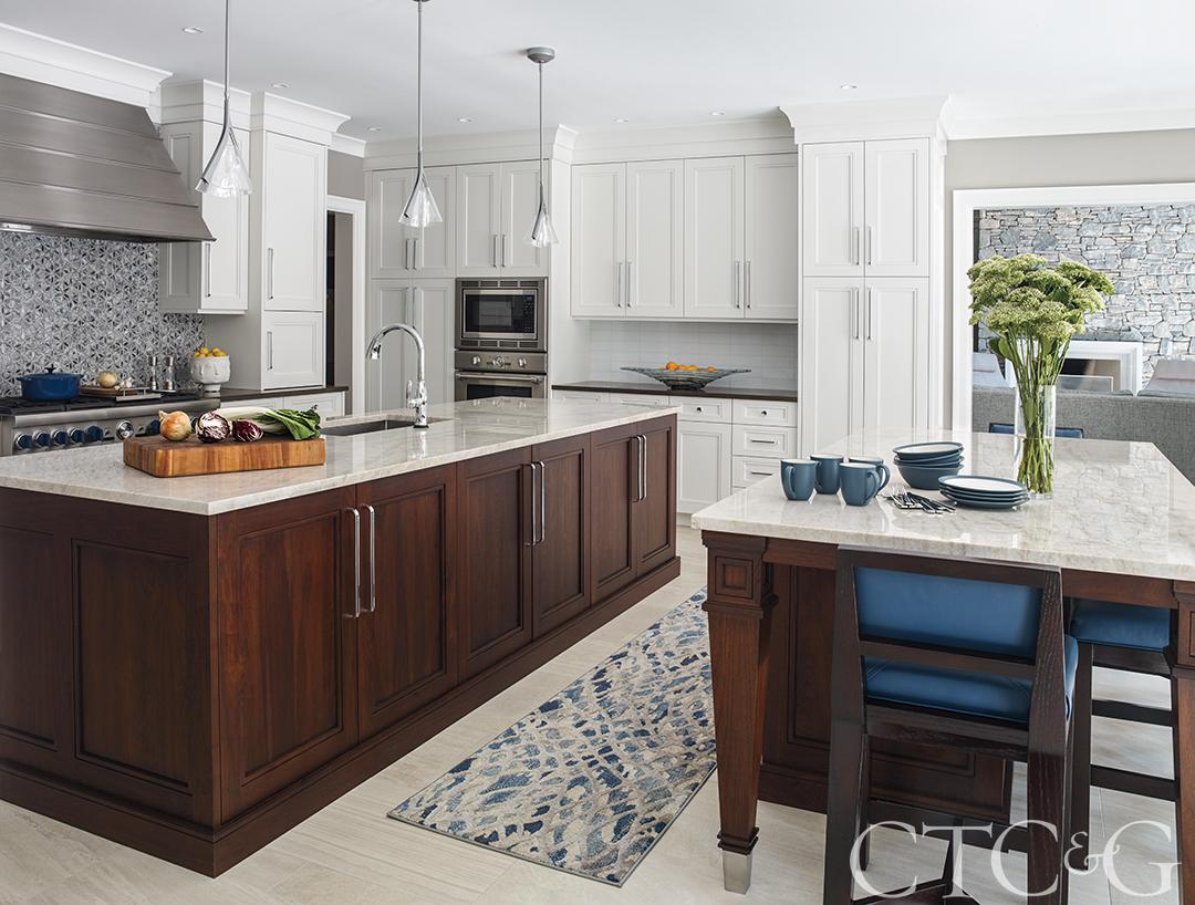 Kitchen Island Dark Wood White Cabinets