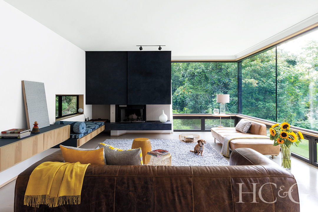 modern television room with all glass windows