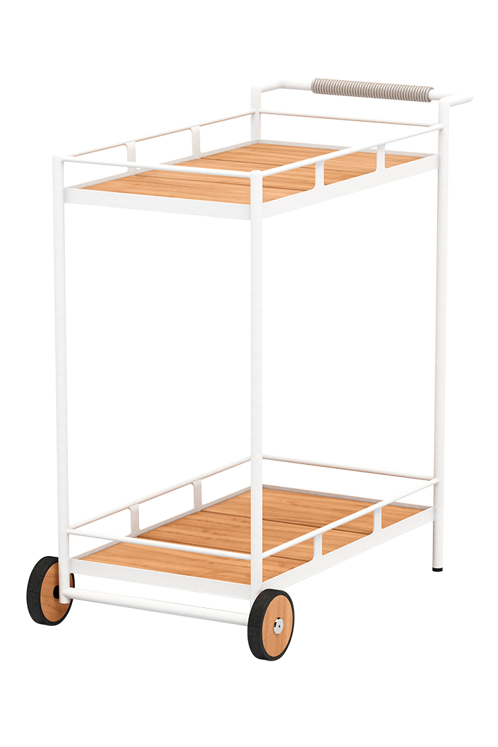 Aroba Teak And Aluminum Bar Cart