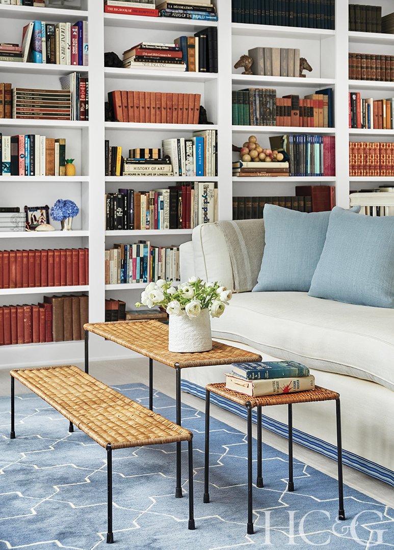 rattan 3 piece coffee table in library