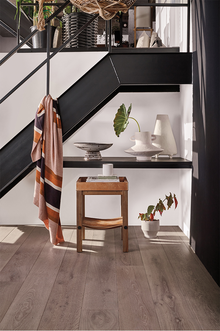 black staircase and storage