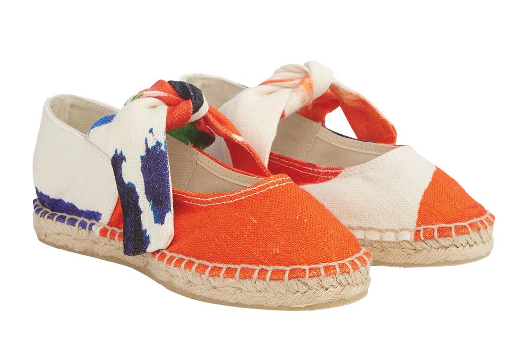 Orange Espadrille Ballet Flats