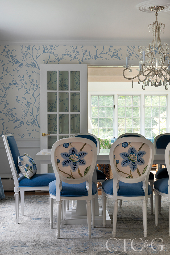 blue and white floral dining chairs