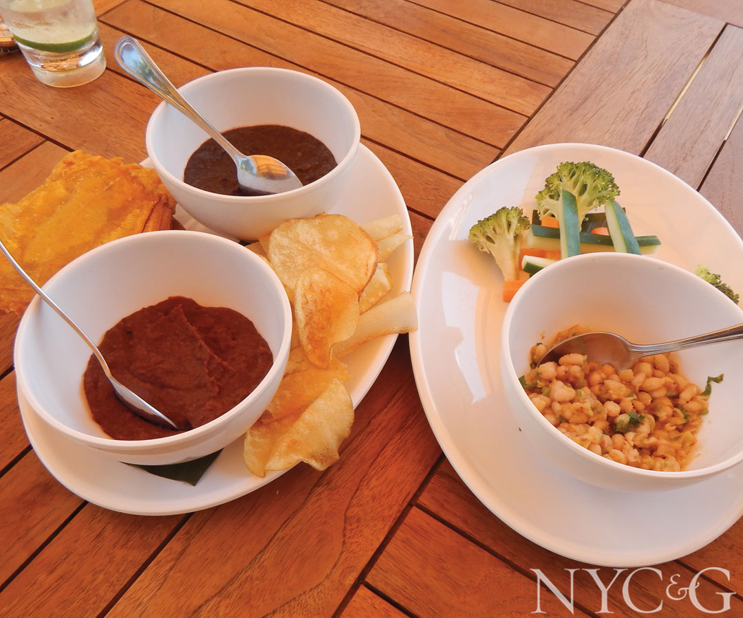 A trio of frijoles dips with crudités, maduros and yucca at the Beach Club's restaurant.