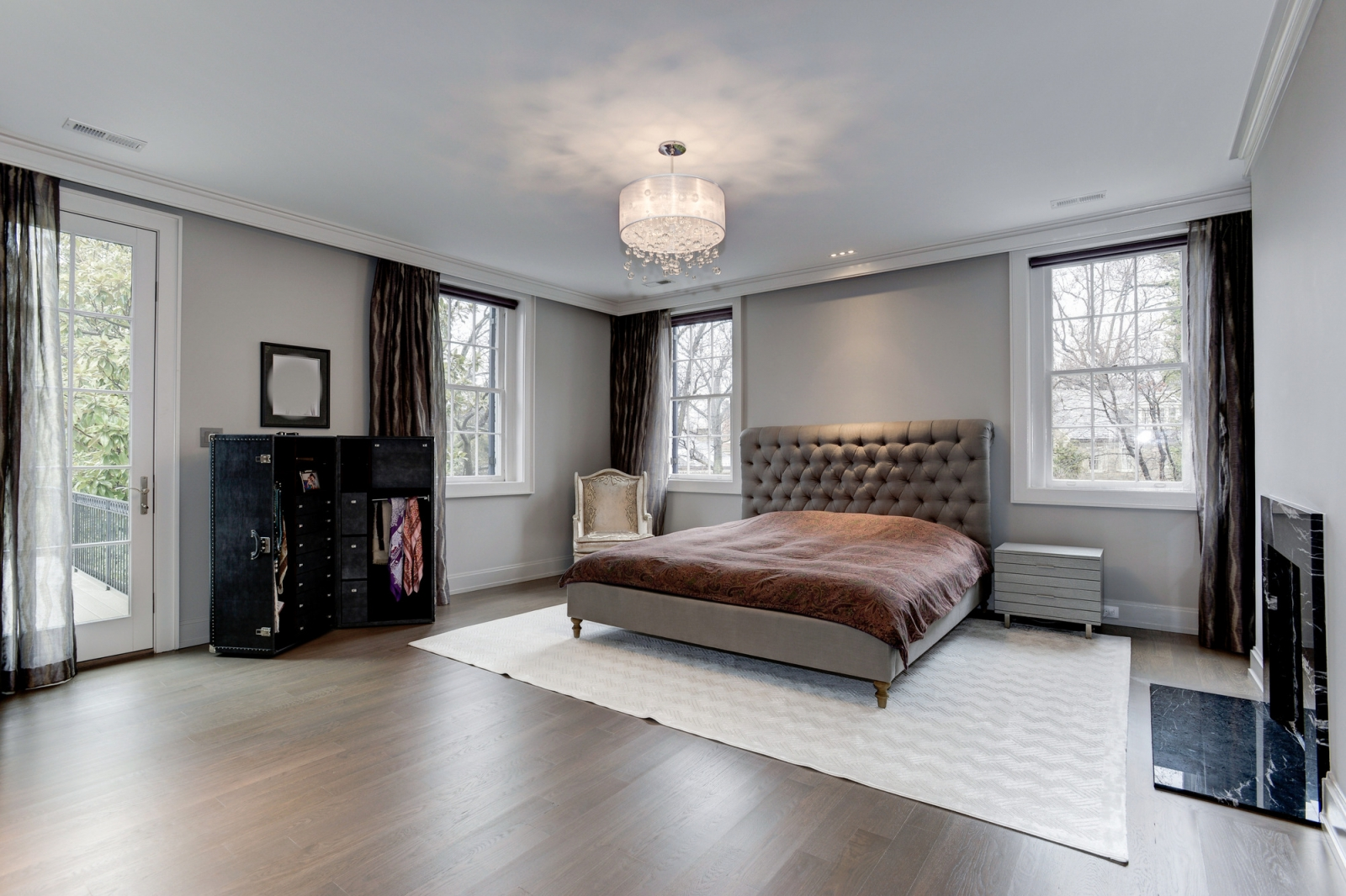 The master bedroom features a private terrace.