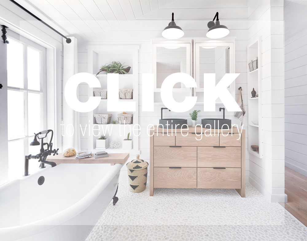 The bathroom features a Randolph Morris vintage clawfoot tub and hardware. The white floor tile is from the Pebble Tile Shop. The custom vanity sports Living'Roc sinks.