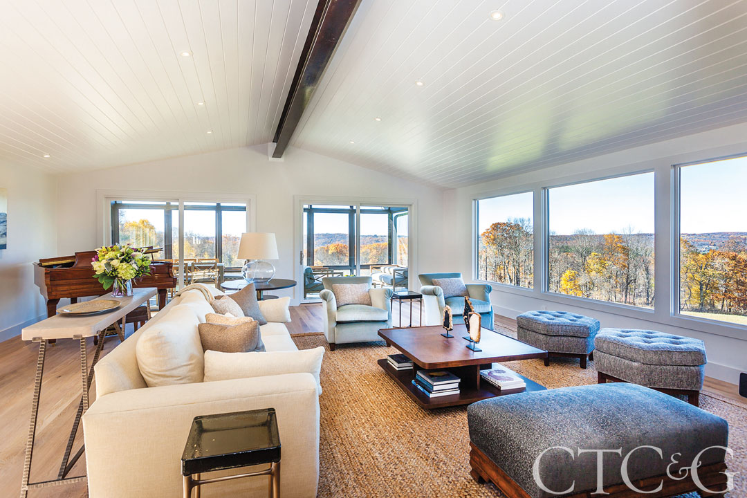 The open living room enjoys panoramic views.