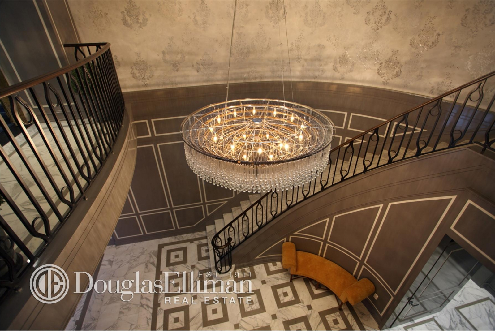 The lobby of the luxurious Touraine apartment building.