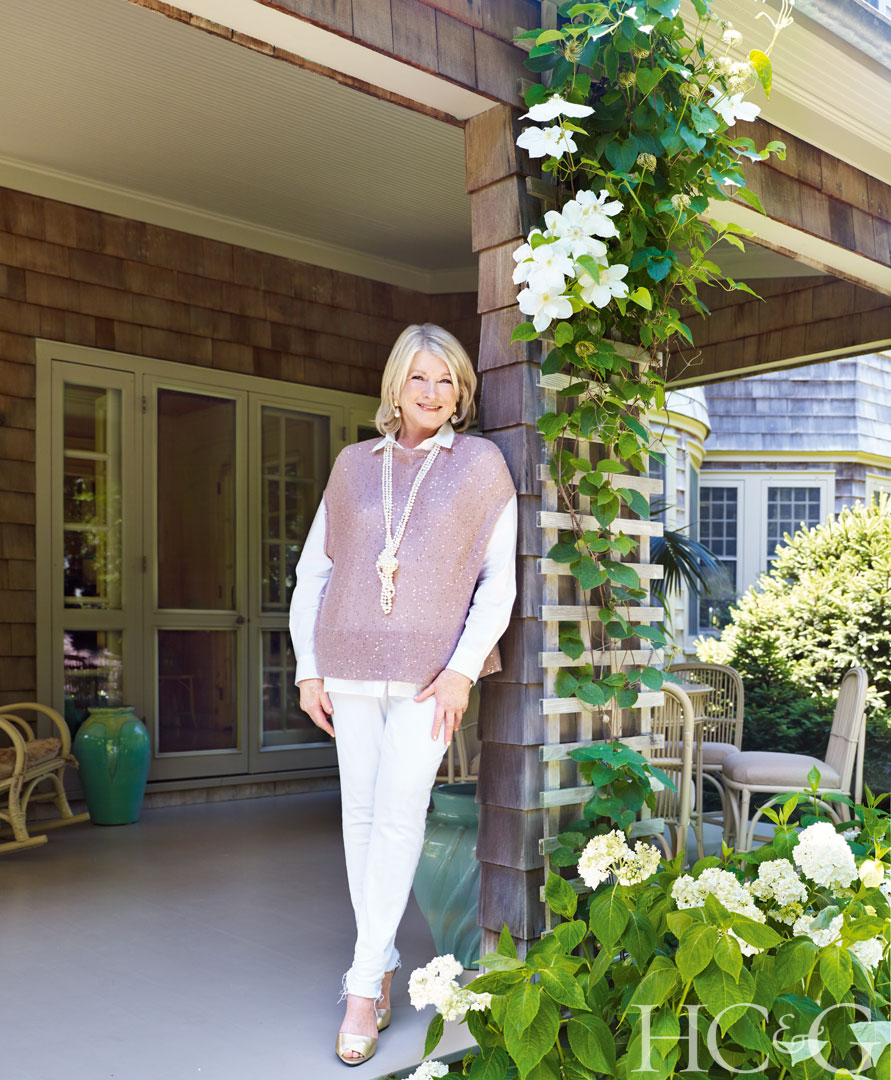 Martha Stewart stands on the porch of her East Hampton home which HC&G had the pleasure of photographing for our 2017 September issue
