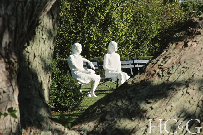 At a nearby property, George Segal's 1979 Three People on Four Benches (plaster, wood, and metal) is at home in a park-like setting designed by Michael Derrig.