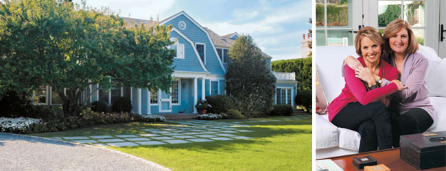 Left - Katie Couric's Hamptons home; right - Katie Couric and sister Clara Couric Batchelor
