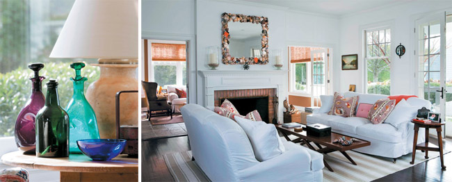 Left - colorful glass bottles. Right - the airy, inviting living room