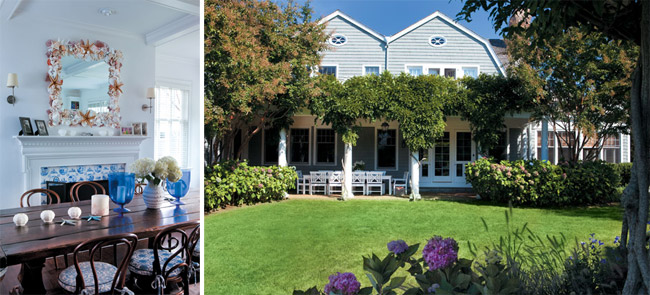 Blue and white anchors the dining room (left); The view toward the house (right).