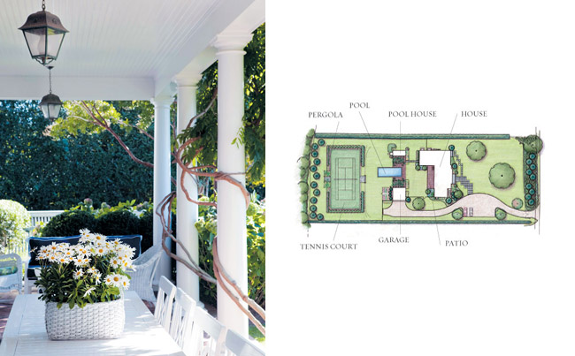 Wisteria (left) climbs the pillars of the patio. Batchelor's plan for the property (right).