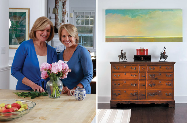 The sisters gather fresh-cut peonies (left). An antique chest (right).