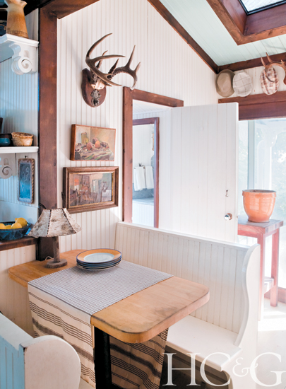 Breakfast nook with schoolhouse seating