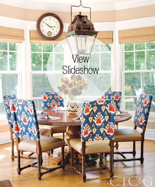 Designer John Douglas Eason cleverly wove red, white and blue decor into the Greenwich home of a patriotic family.