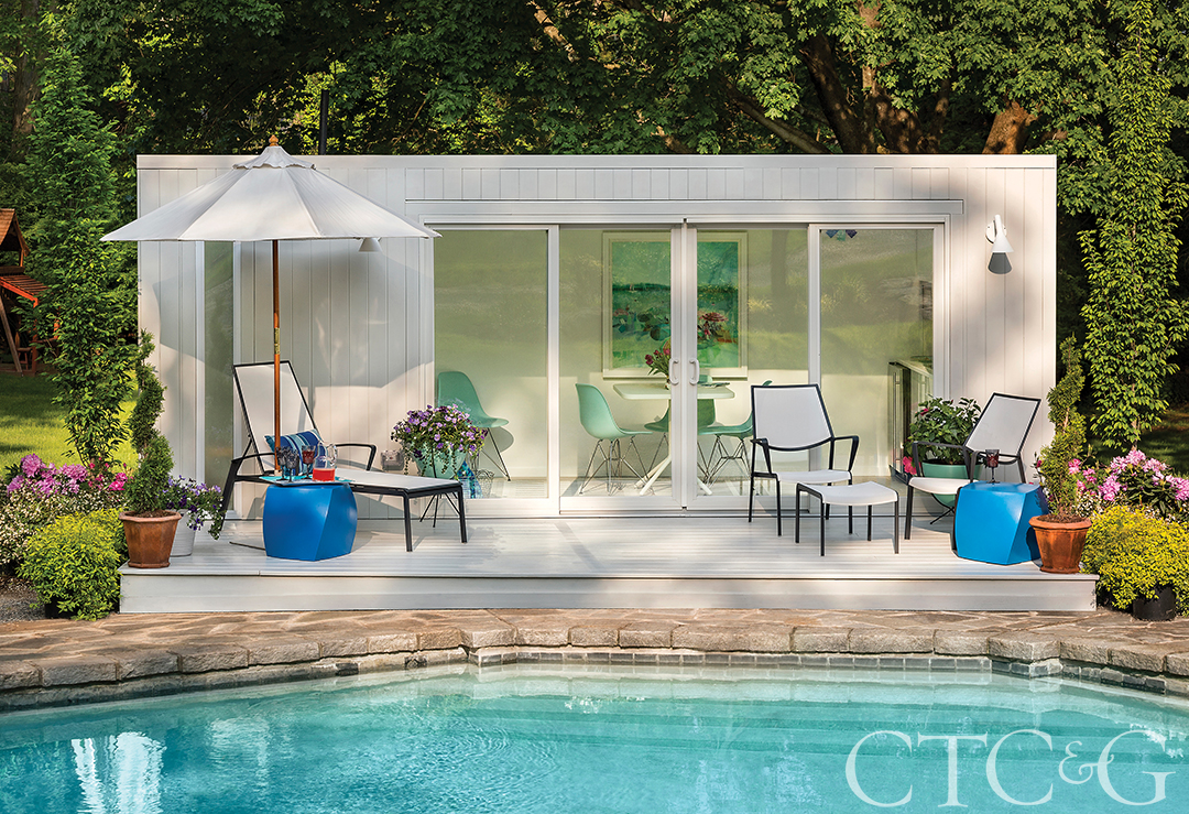 A fully outfitted pool house—made from a shipping container—can be delivered within four weeks.