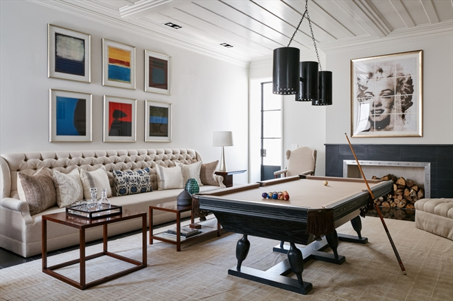 The game room of a James Michael Howard-designed Sagaponack home.