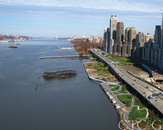 Riverside Park South, New York City. Arial view of the coast line.
