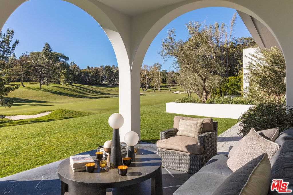 A loggia looks over the golf course.